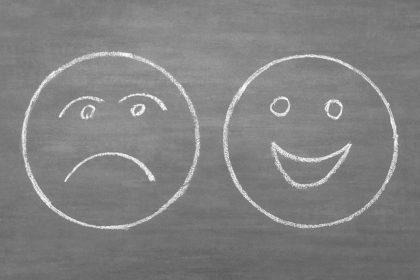 κυκλοθυμία emojis με χαμόγελο και στεναχώρια