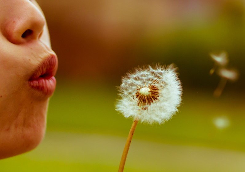 γυναίκα με αναπνευστικά νοσήματα φυσάει λουλούδι