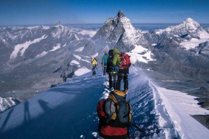 Ορειβασία σε χειμερινό βουνό